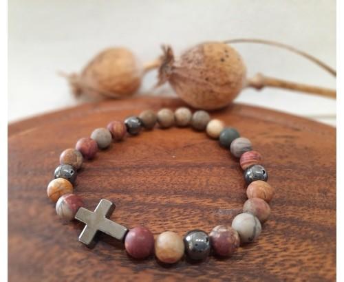 pánský náramek z jaspis s křížkem