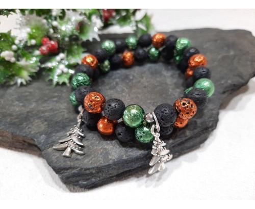 vánoční minerální náramek z lávy