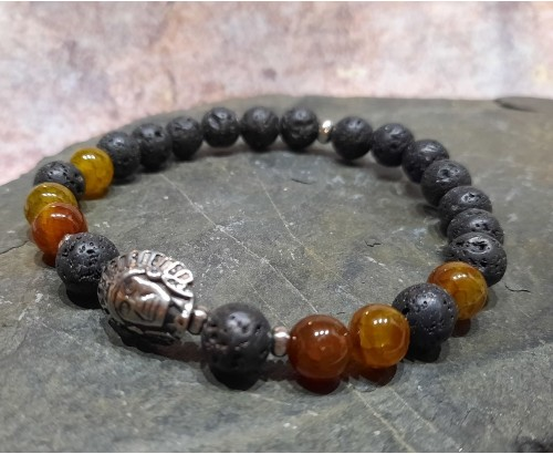 pánský minerální náramek s hlavou aztéka